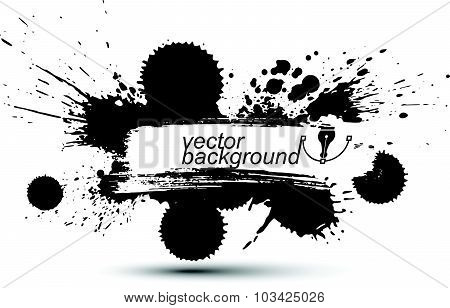 Vector ink splash monochrome seamless pattern with rounded overlap shapes, black and white graphic