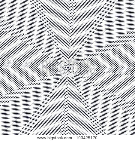Optical illusion, moire background, abstract lined monochrome tiling. Unusual geometric pattern