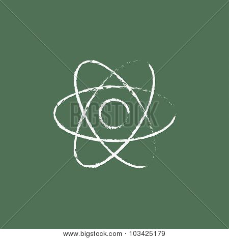 Atom hand drawn in chalk on a blackboard vector white icon isolated on a green background.