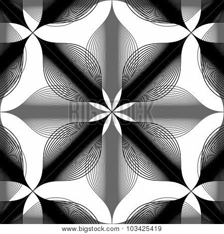 Seamless vintage background, monochrome geometric lined seamless pattern, black and white vector