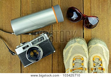 Travelling Set With Wood Background.