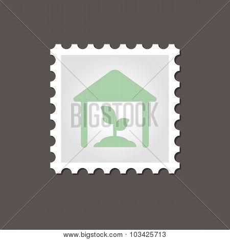 Greenhouse stamp. Outline vector illustration