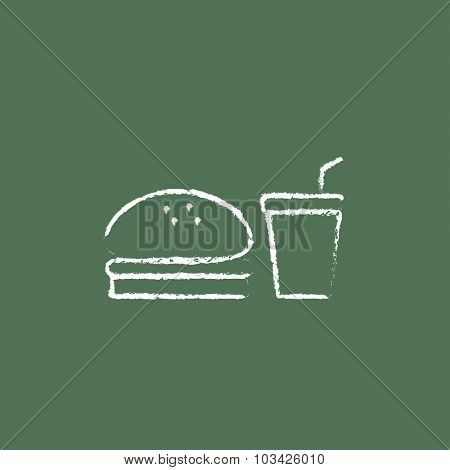 Fast food meal hand drawn in chalk on a blackboard vector white icon isolated on a green background.