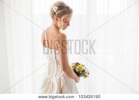 Bride looking over her shoulder