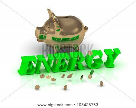 Energy- Inscription Of Green Letters And Gold Piggy