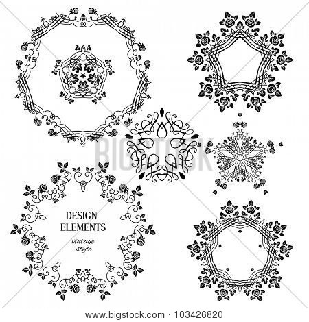 Vintage floral ornaments. Floral and calligraphy round decoration for wedding or vintage holiday card.