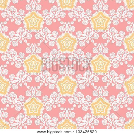 Pastel roses pattern. Elegant floral pattern with roses ornament. Seamless background.