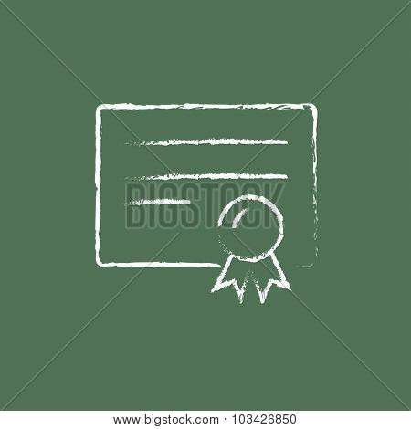 Certificate hand drawn in chalk on a blackboard vector white icon isolated on a green background.