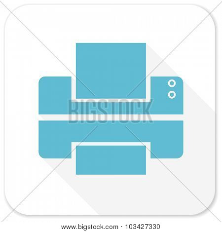 printer blue flat icon