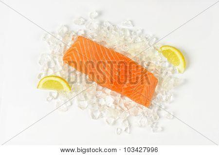 raw salmon fillet on ice