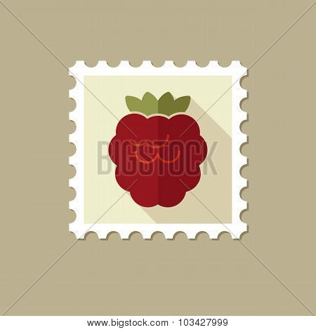 Raspberry flat stamp with long shadow