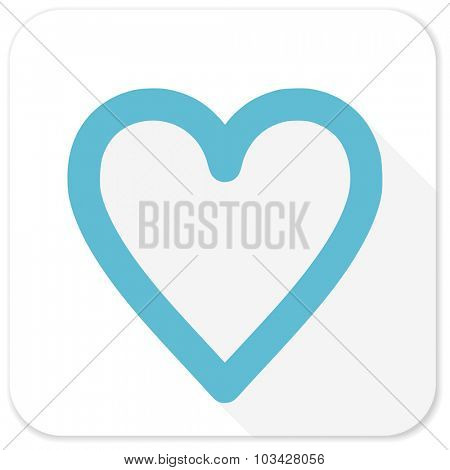 heart blue flat icon