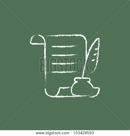 Paper scroll with feather pen hand drawn in chalk on a blackboard vector white icon isolated on a green background.