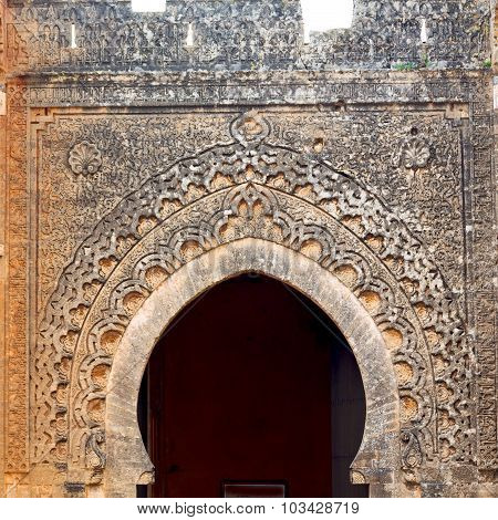 Old Door In Morocco Africa Ancien And Wall Ornate   Yellow