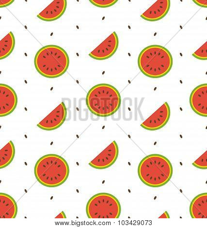 Seamless Pattern with Slices and Seeds Of Watermelon