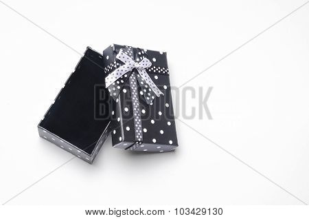 Small Open Black Gift Box With Ribbon And Circles Top