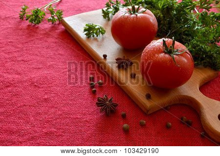Tomatoes With Water Drops