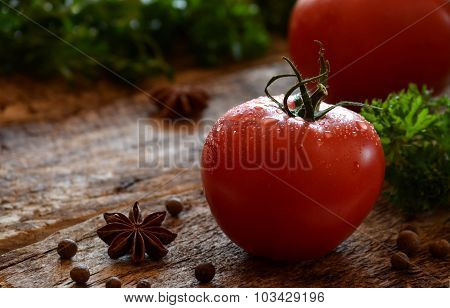 Tomatoes In Drops Of Water