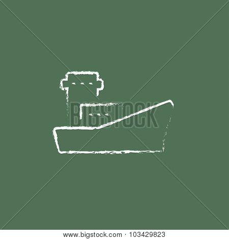 Cargo container ship hand drawn in chalk on a blackboard vector white icon isolated on a green background.