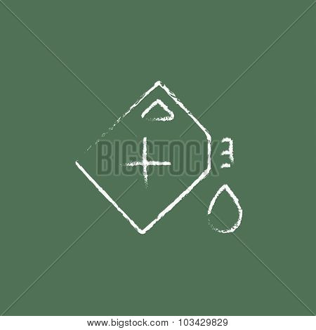 Gas container hand drawn in chalk on a blackboard vector white icon isolated on a green background.
