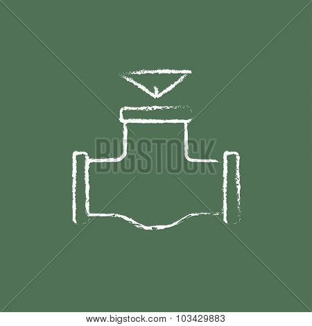 Gas pipe valve hand drawn in chalk on a blackboard vector white icon isolated on a green background.