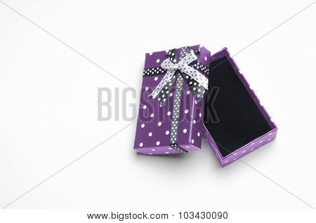 Small Open Purple Gift Box With Ribbon And Circles Top