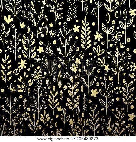 Seamless pattern with gold leaf and grass. Vector illustration