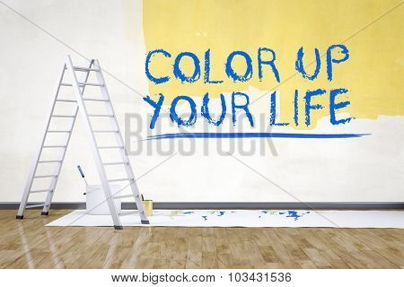 a room with a ladder and the text color up your life