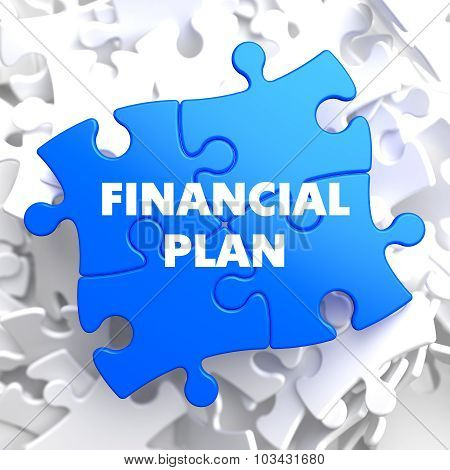 Financial Plan on Blue Puzzle.