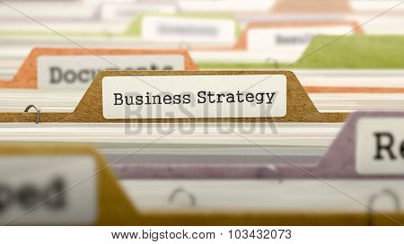 Business Strategy Concept. Folders in Catalog.