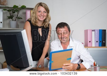 Business Team, A Boss And His Secretary At Office