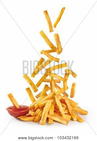 Flying Fried Potatoes And Ketchup Isolated On White Background. French Fries.