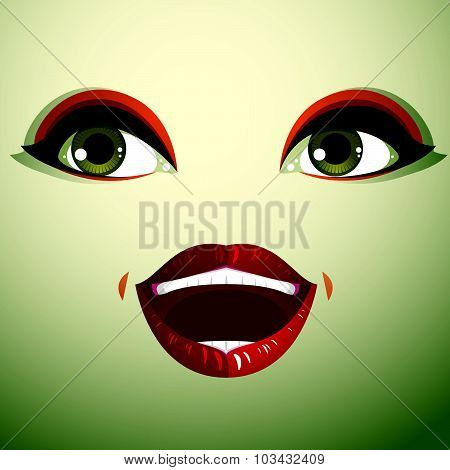 Attractive woman with stylish bright make-up. Sexy Caucasian surprised lady. Human eyes and lips