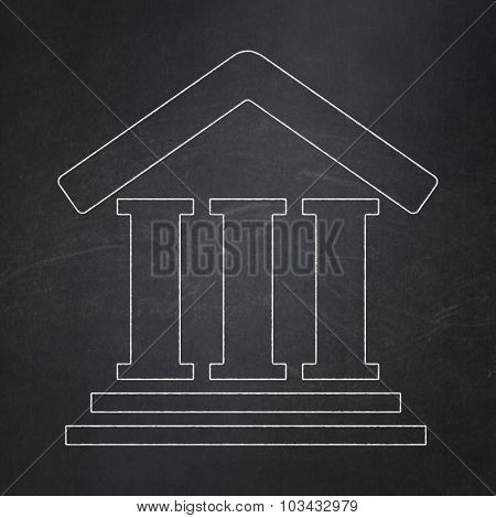 Law concept: Courthouse on chalkboard background