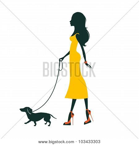 Illustration of a Beautiful woman with dachshund