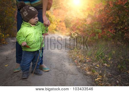 Mother Walks With The Child.