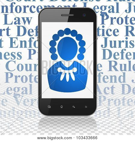 Law concept: Smartphone with Judge on display