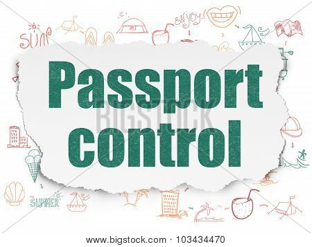 Vacation concept: Passport Control on Torn Paper background