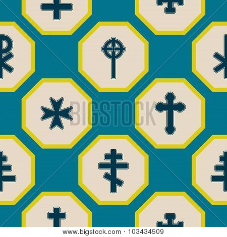 Seamless background with different crosses