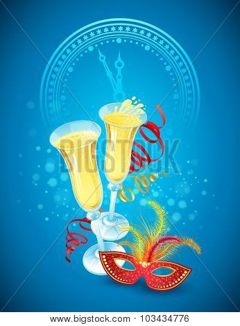 Masquerade mask and champagne. Happy New Year. Vector illustration