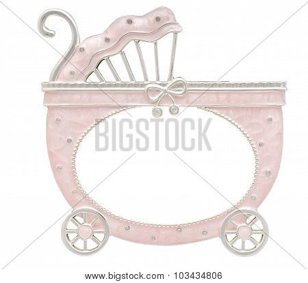 Baby Carriage Shaped Frame Isolated On White