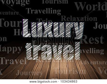 Tourism concept: Luxury Travel in grunge dark room