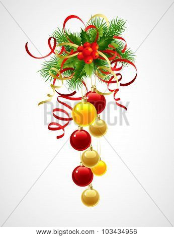 Christmas decoration holly with berries and christmas ball. Vector illustration