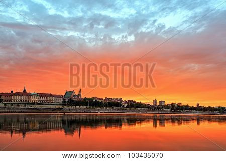 View Of The Old Town In Warsaw At Sunset