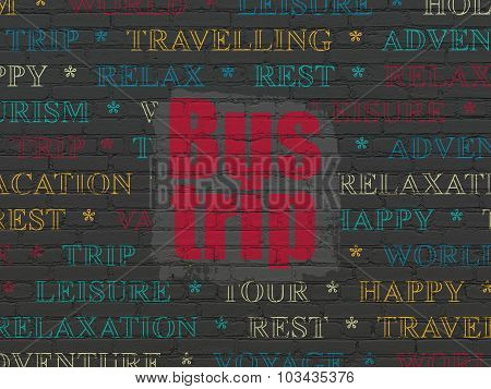 Travel concept: Bus Trip on wall background