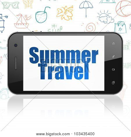 Vacation concept: Smartphone with Summer Travel on display