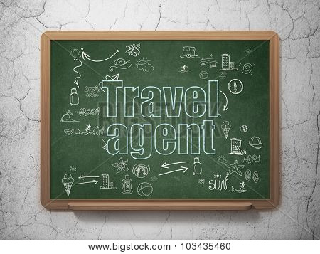 Travel concept: Travel Agent on School Board background