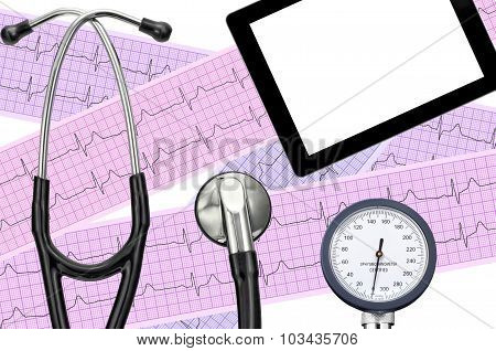 Blood Pressure Meter, Digital Tablet, Electrocardiogram And Stethoscope, On White Background