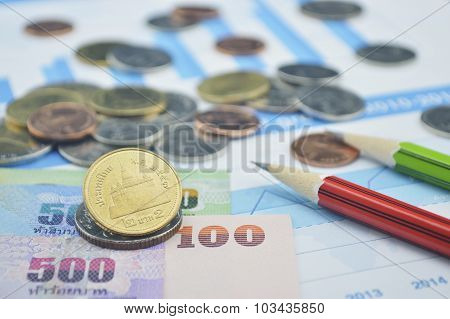 Thailand Coins, Banknotes And Pencils On Business Graph, Accounting Background