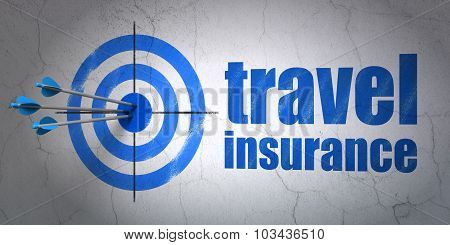 Insurance concept: target and Travel Insurance on wall background